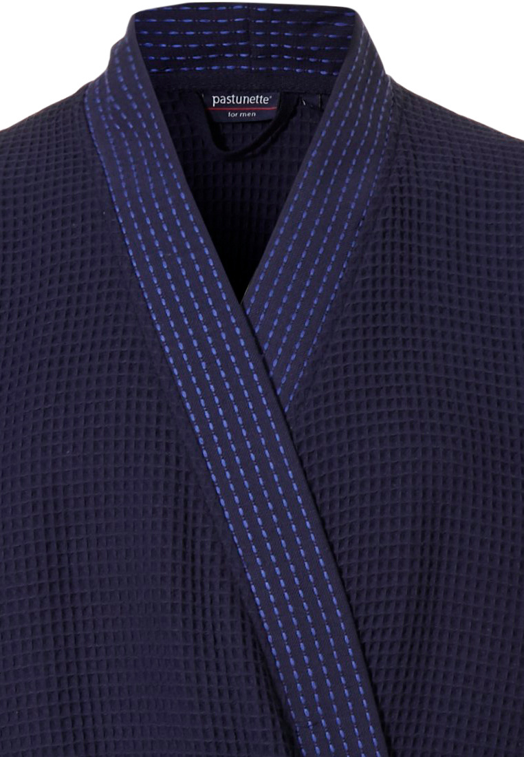 Pastunette for Men 'square it up waffle' midnight blue 100& cotton waffle mens kimono style robe with belt and 2 pockets with modern detailed stitching