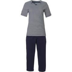Pastunette donkerblauwe katoenen dames pyjama 'fine stripes & pretty neckline'