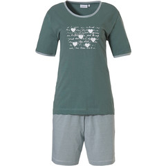 Pastunette short sleeve sage green cotton shorty set '♥ Lucky in Life ♥ '