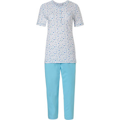 Pastunette short sleeve cotton pyjama set with buttons 'mysterious circles'