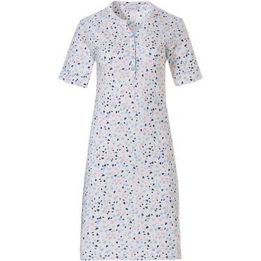 Pastunette '♥sweet little lovehearts ♥' white pink & blue, short sleeve cotton nightdress with 4 buttons and all over pretty '♥'sweet little lovehearts ♥' pattern