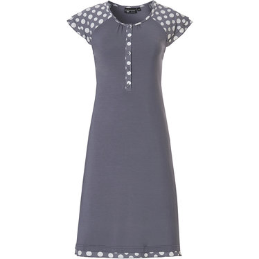 Pastunette Deluxe 'a bit deeply dotty' white & grey short sleeve 95% modal nightdress with 5 buttons and pretty frilled 'deeply dotty' sleeves and hem