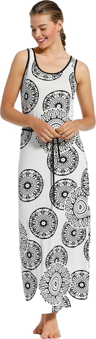Pastunette Beach 'trendy monochrome circles' white & black sleeveless beach with tie-waist and modern holiday print of 'trendy monochrome circles' - Perfect 'must have' fashion statement look for your Summer wardrobe!