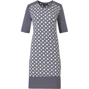 Pastunette Deluxe 'a little deeply dotty' white & grey short sleeve 95%modal nightdress with a bold all over 'deeply dotty' pattern and modern grey banded hem