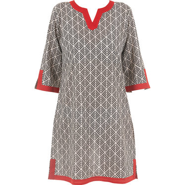 Pastunette Beach 'abstarct holiday palm' pure white red & black 100% cotton woven tunic style each dress with a modern 'abstarct holiday palm' all over print - Perfect look for your Summer wardrobe!
