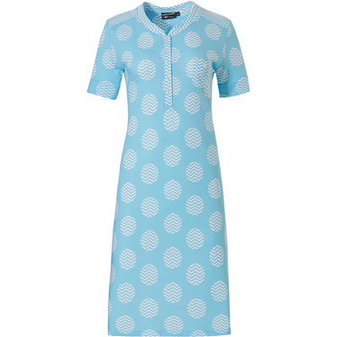 Pastunette Deluxe Retro ZigZag circles' pure white & true blue topaz ladies short sleeve cotton - modal nightdress with 5 buttons and chest pocket