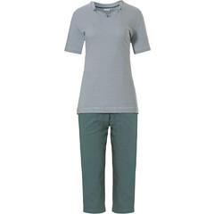 Pastunette saliegroene katoenen dames pyjama 'fine stripes & pretty neckline'