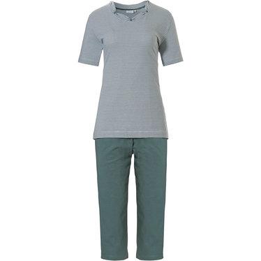 Pastunette 'fine stripes & pretty neckline, white & sage green ladies, 100% cotton single jersey short sleeve striped pyjama set with pretty detailing around the neckline and sage green pants