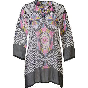 Pastunette Beach 'mosaic art' pink, white & black beach ponch style 'v'neck cover-up with 'mosaic art' all over pattern
