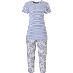 Pastunette organic cotton short sleeve stripey pyjama set 'stripes & paisley dreams'