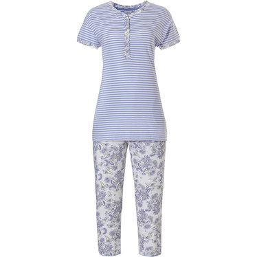 Pastunette 'stripes & paisley dreams' wit-lichtblauwe gestreepte pyjama met korte mouwen van biologisch katoen met 4 knopen, paisley print details en paisley print 3/4e capri broek