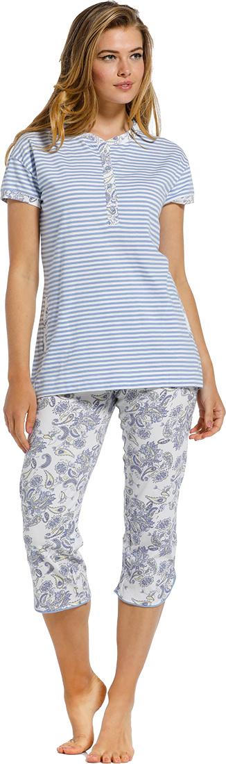 Pastunette 'stripes & paisley dreams' white & pale blue short sleeve organic cotton striped  pyjama set with 4 buttons paisley print detailing and paisley print 3/4 pants