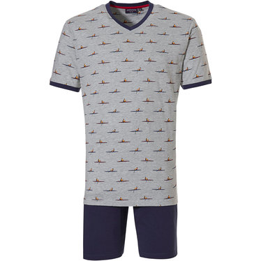 Pastunette for Men 'sporty rowing' grey & blue 93% cotton - 17% polyester shorty set with cool little canoe man pattern, grey short sleeve top and 100% cotton blue shorts with an elasticated waist
