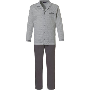 Pastunette for Men 'all linked up' mid grey & white 100% cotton full button mens pyjama set with long 100% cotton grey long pants with an elasticated waist