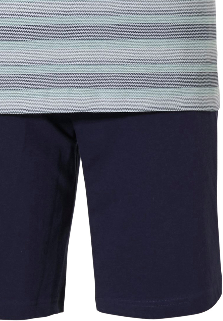 Pastunette for Men 'cool zig zag stripes' green & blue, 100% cotton mens shorty set with round neck and marine blue shorts with an elasticated waist