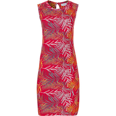 Pastunette 'pretty passion red' red sleeveles cotton nightdress with all over leafy pattern and back button neck fastening