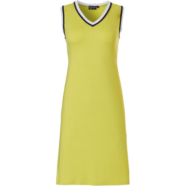 Pastunette Deluxe '70's retro yellow vibes' vibrant yellow & white sleeveless 'v' neck dress with a fashioable 70's sleek look