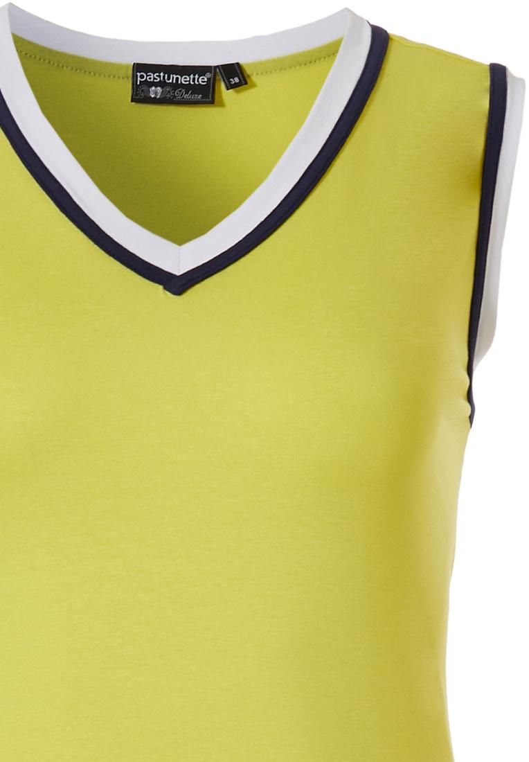 Pastunette Deluxe mouwloze dames dress met v-hals '70's retro yellow vibes'