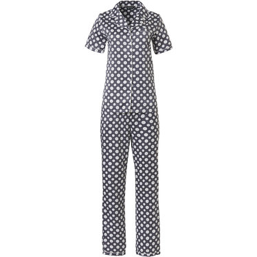 Pastunette Deluxe 'deeply dotty' white & grey short sleeve full button cuddle satin pyjama with a bold all over 'deeply dotty' pattern and long matching pants