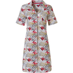 Pastunette ladies full button cotton nightdress 'paradise bird flower & passion leafs'