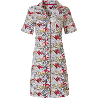 Pastunette paradise bird flower & passion leafs' white & red full button short sleeve cotton nightdress with revere collar and all over pretty red flowers