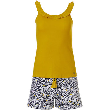 Rebelle 'cute frills animal print' mustard yellow shorty set with a 'cute frills' sleeveless vest and 'animal print'shorts with pretty little taassle tie-waist from our Rebelle wildcat' selection