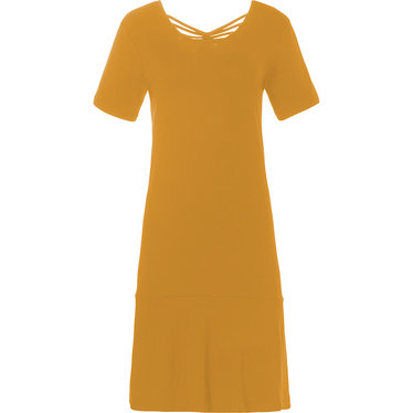 Pastunette Beach 'Summer Day' mustard yellow ladies short sleeve beach dress with pretty back details and flattering broad hem - A 'must have' for any Summer wardrobe!