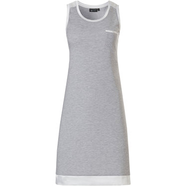Pastunette Deluxe 'charming elegance' mid shade of grey & pure white luxury sleeveless nightdress with chest pocket and luxury pure white soft as satin trimmings