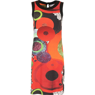 Pastunette Beach 'go disco' trendy Summer holiday 'must have', red, black, white & green sleeveless beach dress with trendy print! - Perfect for Summer... Home or Away!