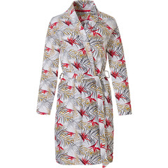 Pastunette ladies wrapover kimono style cotton morningown 'paradise bird flower & passion leafs'