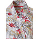 Pastunette 'paradise bird flower & passion leafs' white & red wrap-over kimono style cotton morninggown with belt cotton and all over pretty red flowers