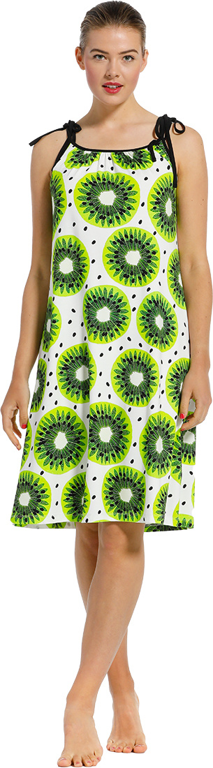 Pastunette Beach 'fruity kiwi passion' white, lime green & kiwi green strappy beachdress with self- tie straps and all over pretty Summer 'fruity kiwi passion' pattern