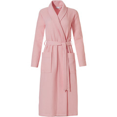 Pastunette ladies carnation pink morninggown with shawlcollar 'square waffle design'