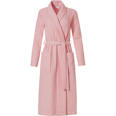 Pastunette 'square waffle design' carnation pink ladies wrap-over morning gown with shawlcollar, belt and two pockets