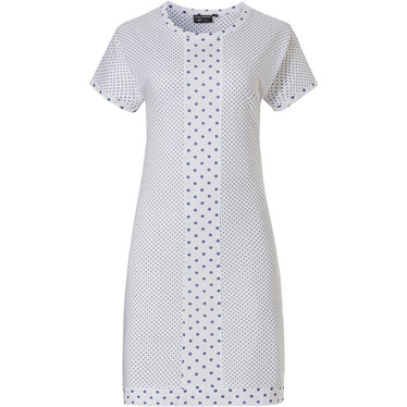 Pastunette Deluxe 'geometric dots & circles' pure white & mid sky blue short sleeve cotton-modal nightdress