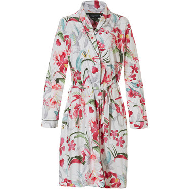 Pastunette Deluxe 'Hawaiian tropical flower' pure white & coral red ladies wrap-over dressing gown with belt, pockets and all over pretty 'Hawaiian tropical flower' pattern