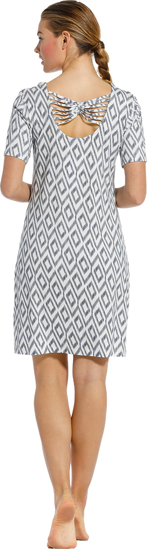 Pastunette Beach 'holiday fashion' white & dark blue ladies short sleeve beach dress with pretty back details and all over 'holiday fashion' print  - A 'must have' for any Summer wardrobe!
