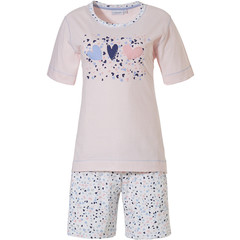 Pastunette short sleeve striped cotton shorty set '♥ sweet diamante lovehearts ♥'