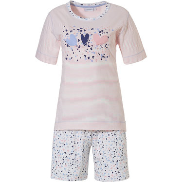Pastunette '♥ sweet '♥ sweet diamante lovehearts ♥' pale pink & white stripey short sleeve cotton shorty set with '♥ sweet diamante lovehearts ♥' picture and little hearts patterned shorts lovehearts ♥ pale pink & white stripey short sleeve cotton shorty set with '♥