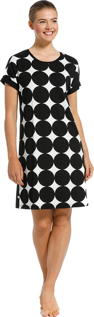 Pastunette Beach 'monochrome circles of fashion' black & white short sleeve beachdress with an all over 'monochrome circles of fashion' pattern  - Perfect 'must have' fashion statement look for your Summer wardrobe!