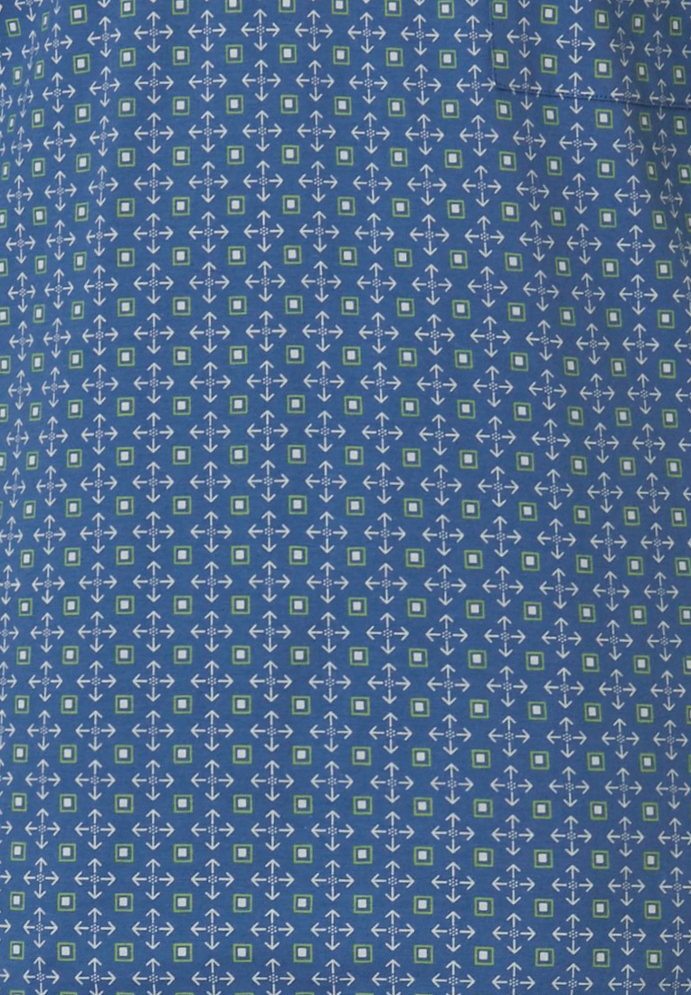 Robson 'squares & shields' fresh mid blue & green 100% cotton mens 'v' neck patterned shorty set with chest pocket and fresh mid blue shorts with an elasticated waist