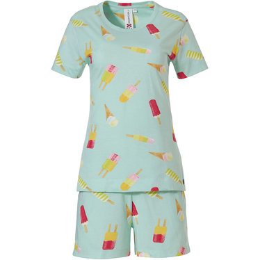 Rebelle 'lollipop dreams' light aqua green short sleeve cotton shorty set with an all over lollipop pattern and matching shorts