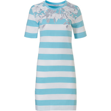 Pastunette 'floral dream garden, horizontal lines' light sky blue & pure white ladies 100% cotton short sleeve nightdress with a lovely combination of horizontal stripes and pretty floral design