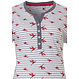 Pastunette 'paradise bird flower' white, red & grey short sleeve pyjama set with 4 buttons, stripes, floral print , two front pockets and grey 3/4  pants