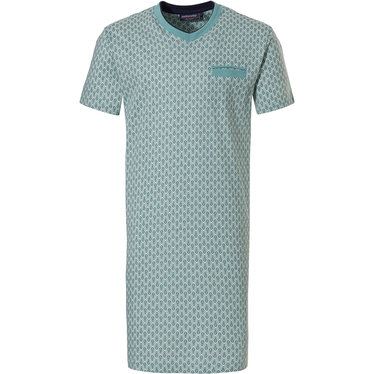 Pastunette for Men 'symmetrical modern print' green 100% cotton short sleeve mens nightdress