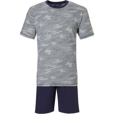 Pastunette for Men 'military camouflage' grey & dark blue mens 93% cotton - 17% polyester shorty set with trendy 'camouflage' pattern and dark blue elasticated 100% cotton shorts