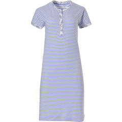 Pastunette organic cotton short sleeve stripey nightdress with 4 buttons 'stripes & paisley dreams'