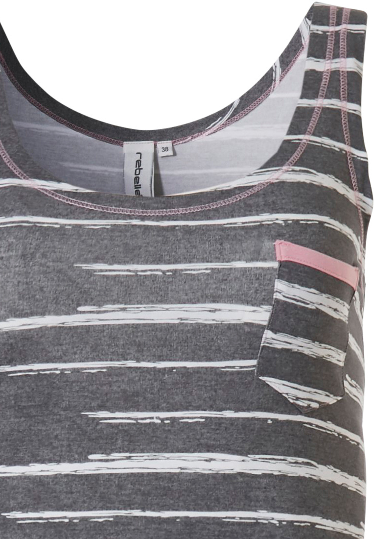Rebelle 'just the code' grey & rose pink trendy sleeveless shorty set with chest pocket fashionable 'just the code print' as a fashion show stopper!