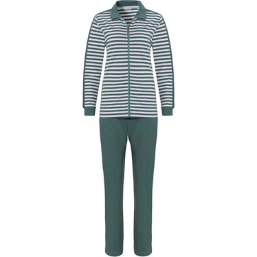 Pastunette 'perfect horizontal lines' pure white & sage green, ladies comfy lounge-style homesuit with full zip, side arm stripe and long sage green pants