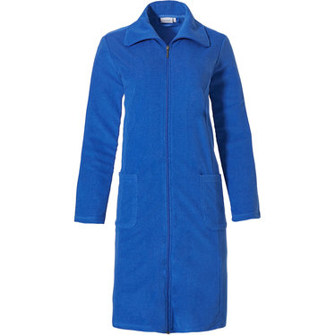 Pastunette ladies royal blue, lightweight, terry bathrobe with full-zip, collar and two pockets - Perfect for Summer!